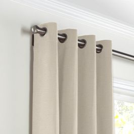 Heathered Beige Woven Blend Grommet Curtains Close Up