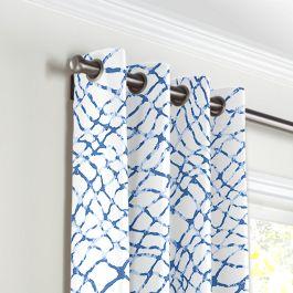 Blue & White Net Grommet Curtains Close Up