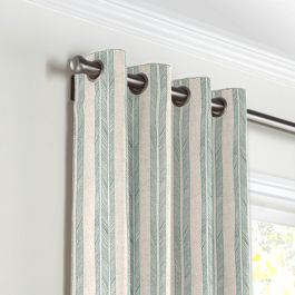 Embroidered Aqua Stripe Grommet Curtains Close Up