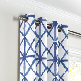 Blue Watercolor Diamond Grommet Curtains Close Up