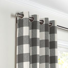 Gray & White Buffalo Check Grommet Curtains Close Up