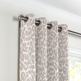 Gray & White Leopard Print Grommet Curtains Close Up