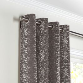 Dark Taupe Dotted Stripe Grommet Curtains Close Up