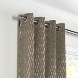 Tan & Black Dashes Grommet Curtains Close Up