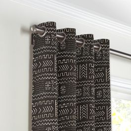 Black Woven Tribal Grommet Curtains Close Up