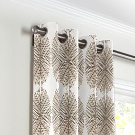 White & Tan Spiky Oval Grommet Curtains Close Up