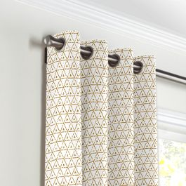 Beige Mudcloth Grommet Curtains Close Up