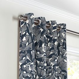 Modern Navy Blue Floral Grommet Curtains Close Up