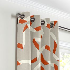 Orange Red Ribbon Grommet Curtains Close Up