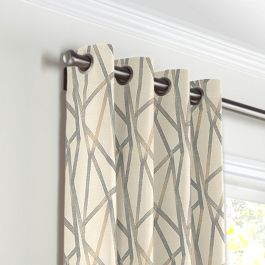 Silver & Tan Abstract Stripes Grommet Curtains Close Up