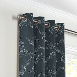 Navy Blue Cloud Grommet Curtains Close Up