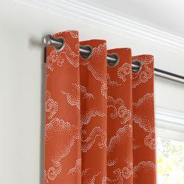 Burnt Orange Cloud Grommet Curtains Close Up
