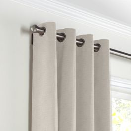 Light Taupe Linen Grommet Curtains Close Up