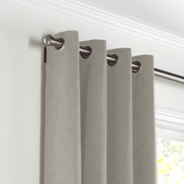 Dark Taupe Linen Grommet Curtains Close Up