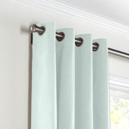 Pale Green Linen Grommet Curtains Close Up