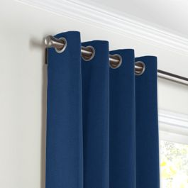 Dark Navy Blue Linen Grommet Curtains Close Up