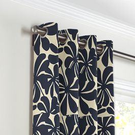 Navy Graphic Floral Grommet Curtains Close Up