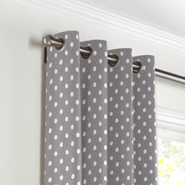 White & Gray Polka Dot Grommet Curtains Close Up