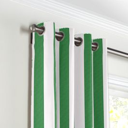 Green Awning Stripe Grommet Curtains Close Up
