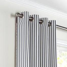Navy & White Stripe Grommet Curtains Close Up