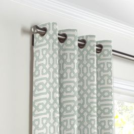 Pale Seafoam Trellis Grommet Curtains Close Up