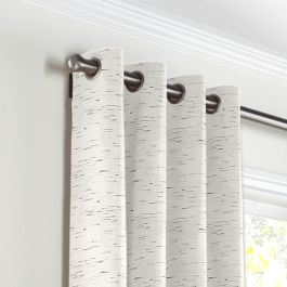 White & Gray Marled Grommet Curtains Close Up