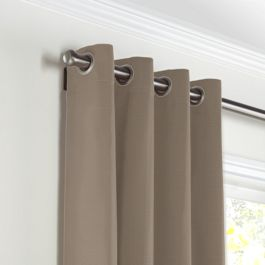 Taupe Sunbrella® Canvas Grommet Curtains Close Up