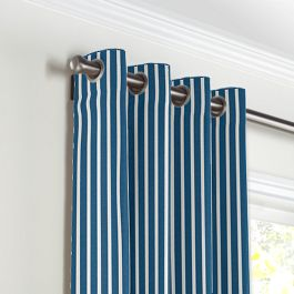 Bright Blue Thin Stripe Grommet Curtains Close Up
