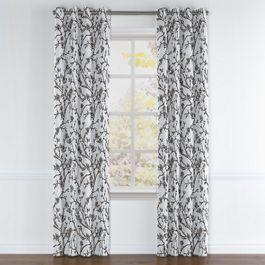 Gray Floral & Bird Grommet Curtains Close Up