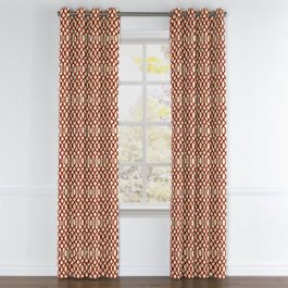 Flocked Tan & Red Trellis Grommet Curtains Close Up