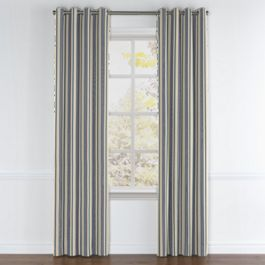 Gray, Teal & Blue Stripe Grommet Curtains Close Up