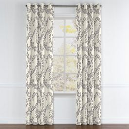 Gray Botanical Swirl Grommet Curtains Close Up