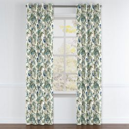 Jacobean Blue Floral Grommet Curtains Close Up