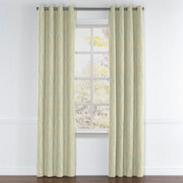 Aqua Medallion Trellis Grommet Curtains Close Up
