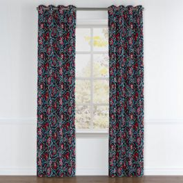 Red & Navy Blue Suzani Grommet Curtains Close Up