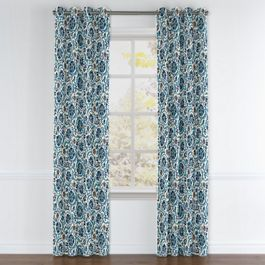 Beige & Blue Suzani Grommet Curtains Close Up