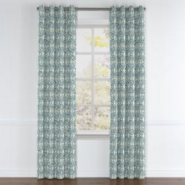 Aqua Moroccan Mosaic Grommet Curtains Close Up
