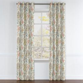 Delicate Aqua Blue Floral Grommet Curtains Close Up