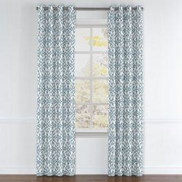 Turquoise Trellis Scroll Grommet Curtains Close Up