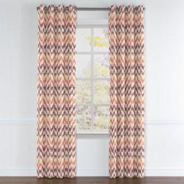 Orange & Pink Flame Stitch Grommet Curtains Close Up
