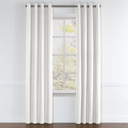 White Slubby Linen Grommet Curtains Close Up