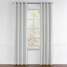 Pale Gray Slubby Linen Grommet Curtains Close Up