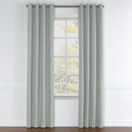 Gray Slubby Linen Grommet Curtains Close Up
