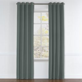 Charcoal Slubby Linen Grommet Curtains Close Up