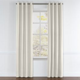 Cream Slubby Linen Grommet Curtains Close Up