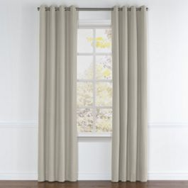 Beige Slubby Linen Grommet Curtains Close Up