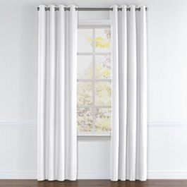 Bright White Slubby Linen Grommet Curtains Close Up