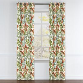 Coral Watercolor Floral Grommet Curtains Close Up