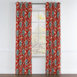 Aqua & Red Floral Grommet Curtains Close Up