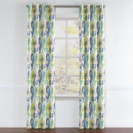 Aqua, Blue & Green Ikat Grommet Curtains Close Up